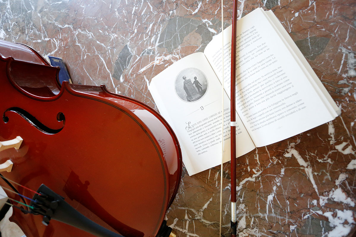 """Violoncello con romanzo """"Sophie sui tetti di Parigi"""""""