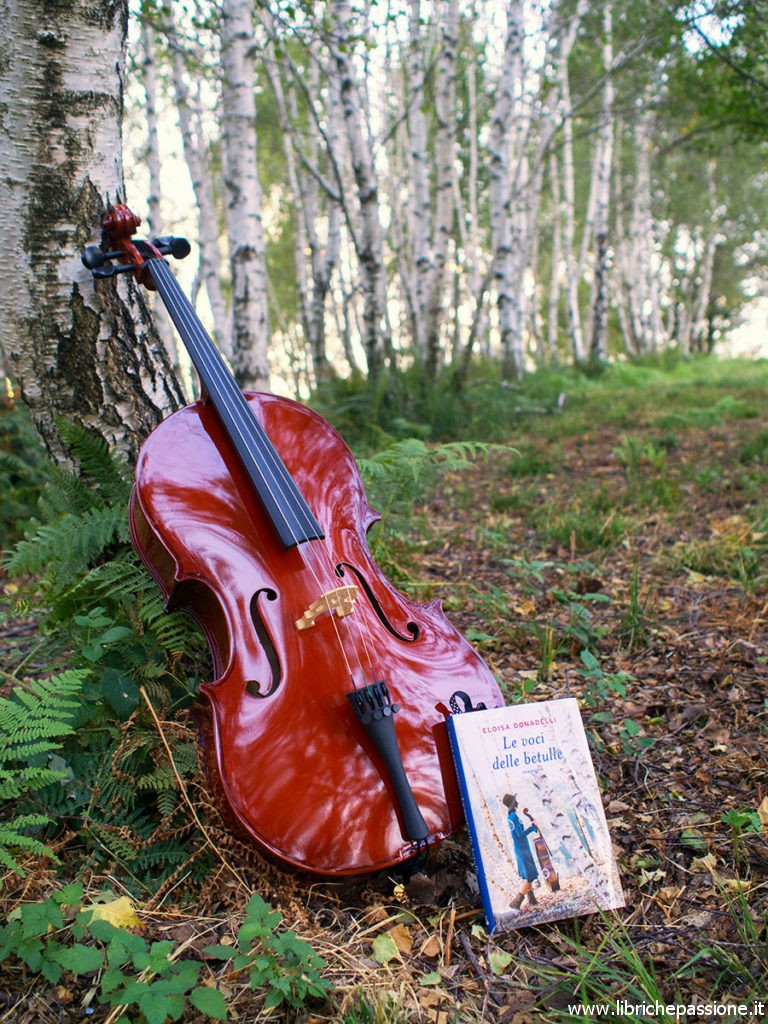 """Immagine di un violoncello e del libro """"Le voci delle betulle"""" Di Eloisa Donadelli"""