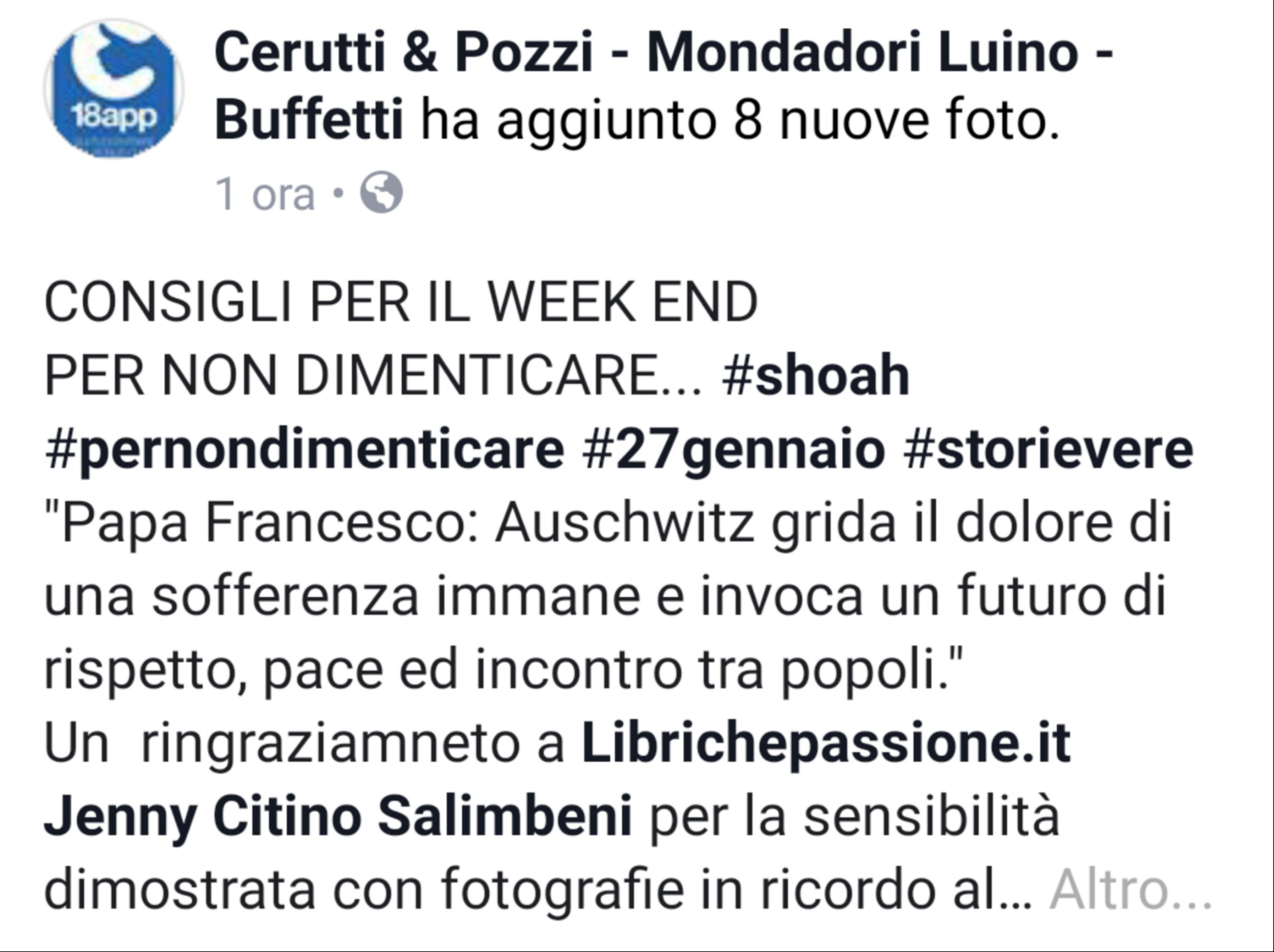 Ringrazio la libreria Cerutti&Pozzi Mondadori Bookstore Luino-Buffetti