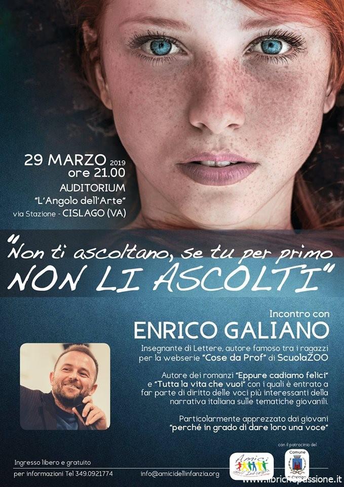 Incontro con lo  scrittore Enrico Galiano, venerdì 29 Marzo 2019