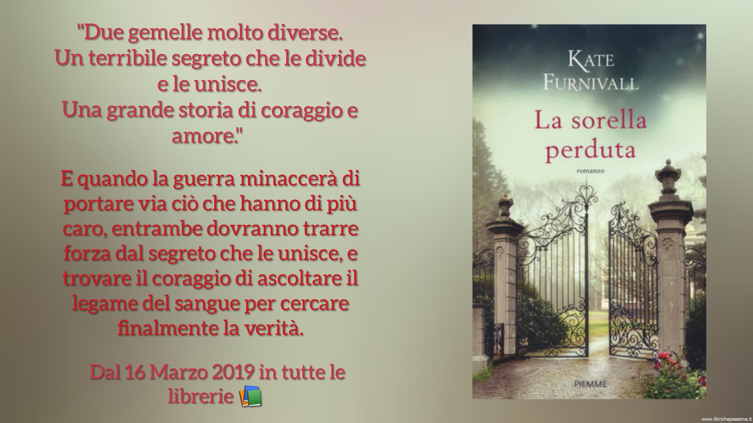 """Segnalazione: """"La sorella perduta"""" autrice Kate Furnivall Edizioni Piemme"""