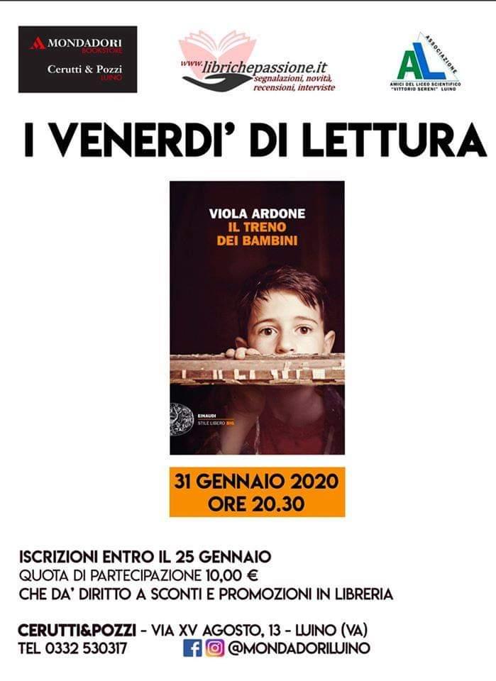 Incontro di lettura presso la libreria Mondadori Bookstore Cerutti & Pozzi di Luino. Venerdi 31 gennaio 2020 alle ore 20,30.