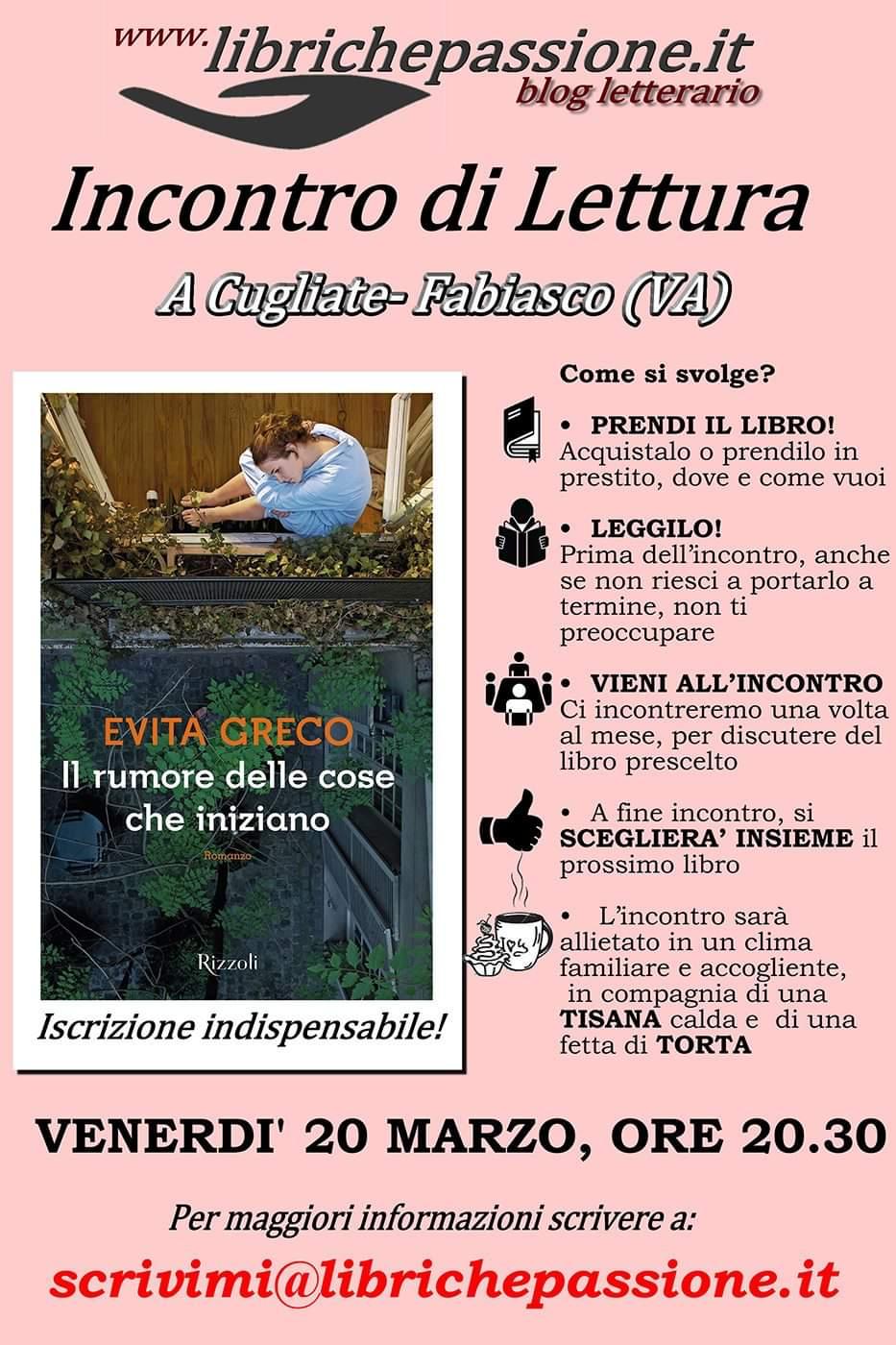Incontro di lettura: Venerdì 20 Marzo 2020 ore 20:30 a Cugliate Fabiasco.